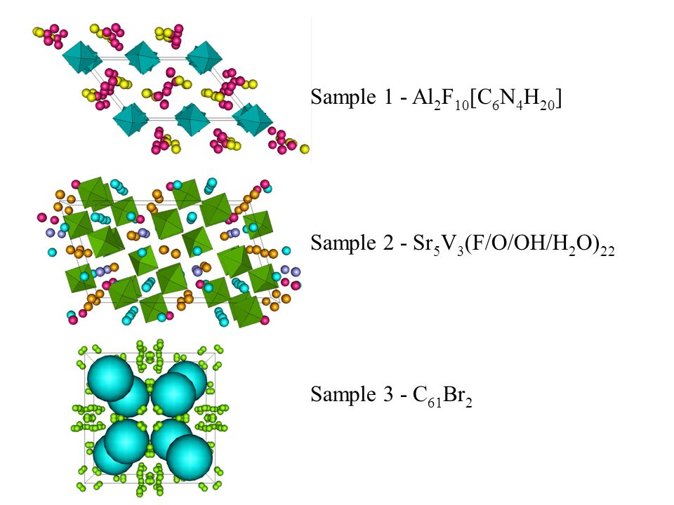 Sample 1 - Al2F10[C6N4H20] Sample 2 - Sr5V3(F/O/OH/H2O)22 Sample 3 - C61Br2